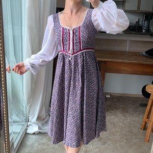 Gunne Sax Vintage Sheer Sleeve Full Peasant Dress